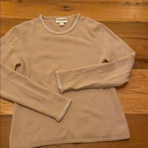 Beige cashmere sweater with pearl trim